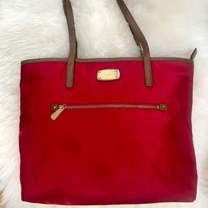 Michael Kors Large Red Canvas Tote